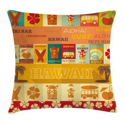 Tiki Bar Decor Old Travel Cards Square Pillow Cover Size: 18 x 18