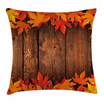 Fall Decor Leaves Wooden Board Square Pillow Cover Size: 16 x 16