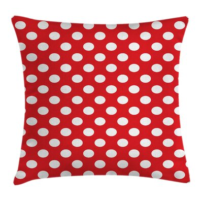Retro Pop Art Polka Dots Square Pillow Cover Size: 16 x 16