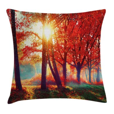 Foggy Autumnal Park Scenic Pillow Cover Size: 16 x 16