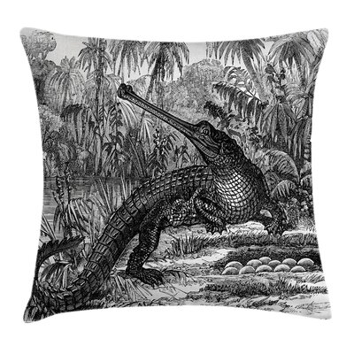 Sketchy Old Crocodile Pillow Cover Size: 16 x 16