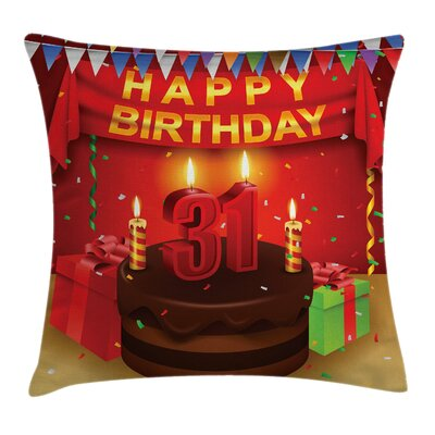 Party Cake Birthday Presents Square Pillow Cover Size: 16 x 16