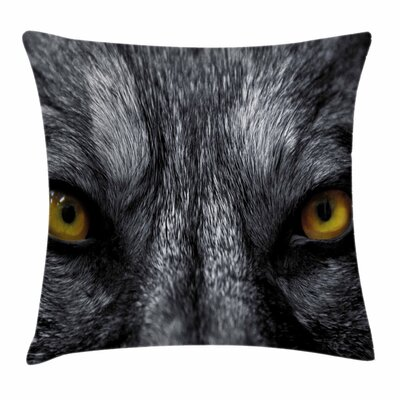 Eye Wild Wolf Dangerous Mammal Square Pillow Cover Size: 24 x 24
