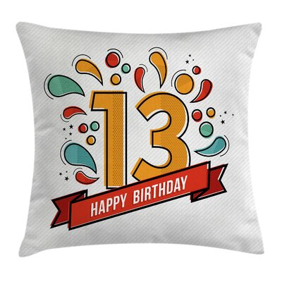 Modern Line Art Thirteen Year Square Pillow Cover Size: 24 x 24
