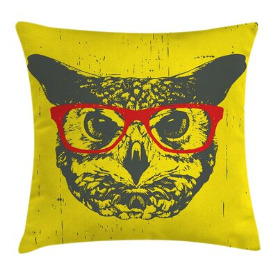 Owl Hipster Grunge Humorous Pillow Cover Size: 24 x 24