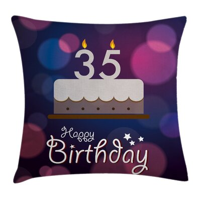 Birthday Graphic Ceremony Cake Square Pillow Cover Size: 16 x 16