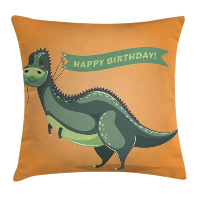 Dinosaur Birthday Greetings Fun Square Pillow Cover Size: 16 x 16