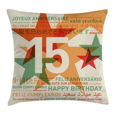 Retro Global Birthday Greetings Square Pillow Cover Size: 16 x 16