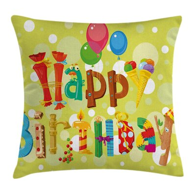 Funny Cute Ice Cream Candies Square Pillow Cover Size: 16 x 16