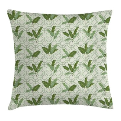 Retro Palm Leaves Geometric Pillow Cover Size: 16 x 16