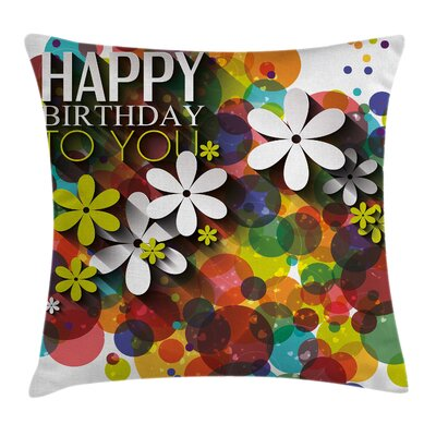 Flower Daisies Dots Best Wish Square Pillow Cover Size: 24 x 24