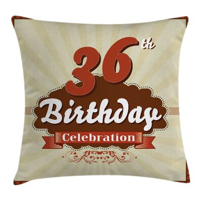 36 Birthday Invitation Square Pillow Cover Size: 24 x 24