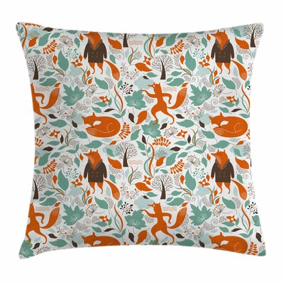 Fox Cute Funny Figures Garden Square Pillow Cover Size: 24 x 24