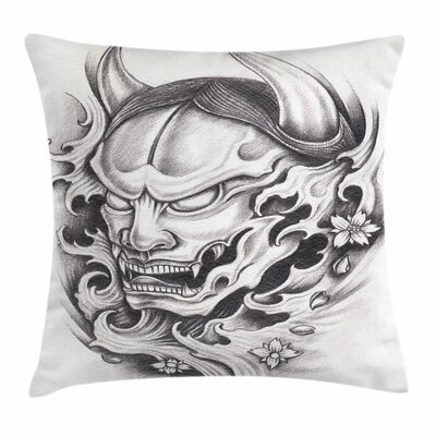 Kabuki Mask Malevolent Face Square Pillow Cover Size: 18 x 18
