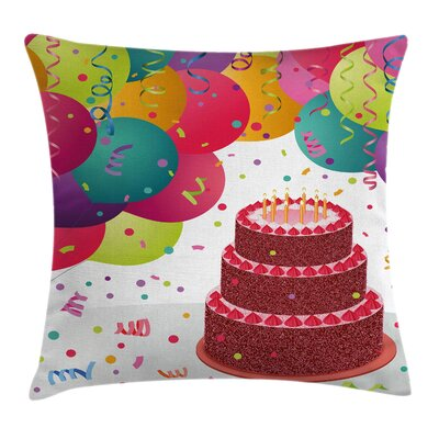 Fun Birthday Cake Celebration Square Pillow Cover Size: 24 x 24