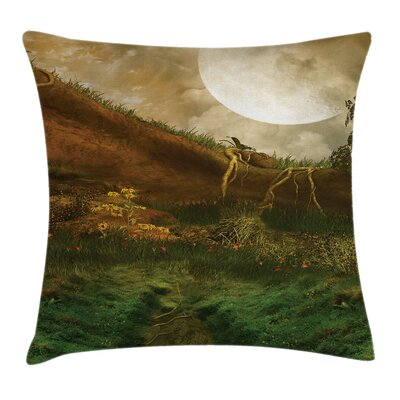 Landscape Valley with Full Moon Pillow Cover Size: 16 x 16