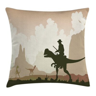 Western Cowboy Riding Dinasour Pillow Cover Size: 24 x 24