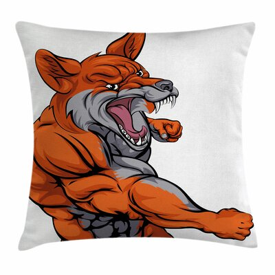 Fox Muscular Sports Fox Mascot Square Pillow Cover Size: 16 x 16
