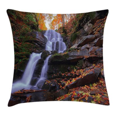 Outdoor Mountain and Waterfall Pillow Cover Size: 18 x 18