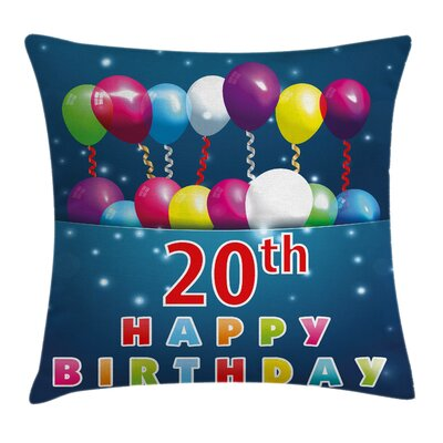 Colorful Balloons Backdrop Square Pillow Cover Size: 16 x 16