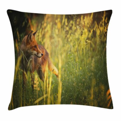 Fox Vixen Mammal Summer Forest Square Pillow Cover Size: 24 x 24