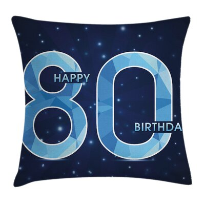 Birthday Party Theme with Stars Square Pillow Cover Size: 18 x 18