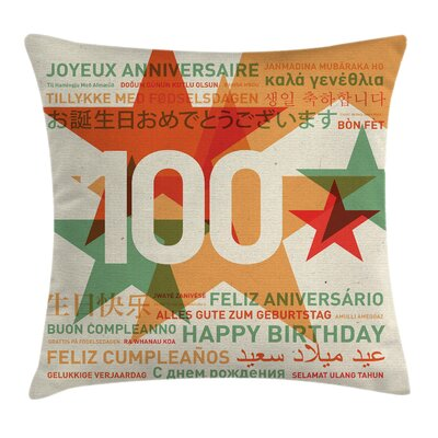 Abstract Global Birthday Wishes Square Pillow Cover Size: 16 x 16