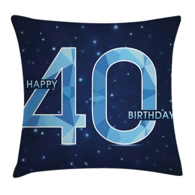 Number Forty Emblem Pillow Cover Size: 24 x 24
