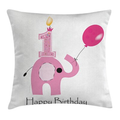 Birthday Girls Party Elephant Square Pillow Cover Size: 18 x 18
