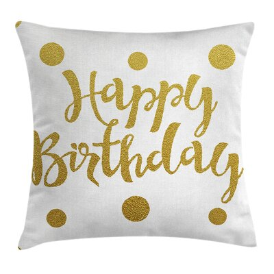 Hand Writing Greeting Dots Square Pillow Cover Size: 16 x 16