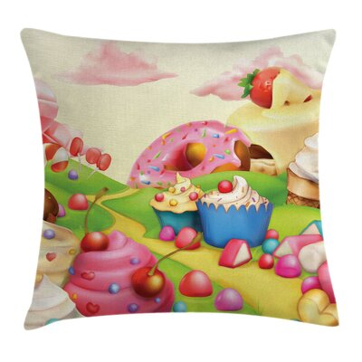 Kids Yummy Donuts Sweet Land Pillow Cover Size: 20 x 20