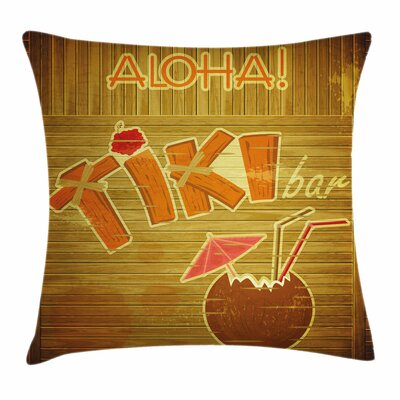 Tiki Bar Decor Wood Plank Aloha Square Pillow Cover Size: 16 x 16