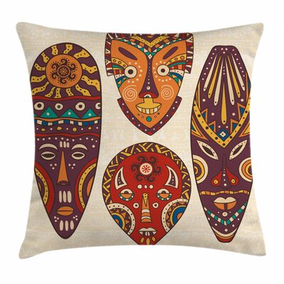 Tiki Bar Decor African Folk Art Square Pillow Cover Size: 18