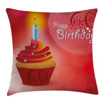 Abstract Party Cupcake Sun Beam Square Pillow Cover Size: 16 x 16