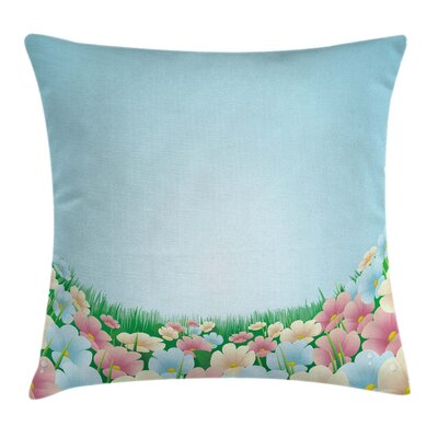 Garden Meadow Daisies Pansies Pillow Cover Size: 16 x 16