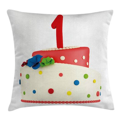 First Birthday Party Square Pillow Cover Size: 16 x 16