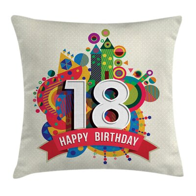 Birthday Geometric Backdrop Square Pillow Cover Size: 18 x 18