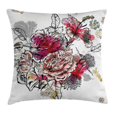 Floral Romantic Rose Petals Pillow Cover Size: 18 x 18