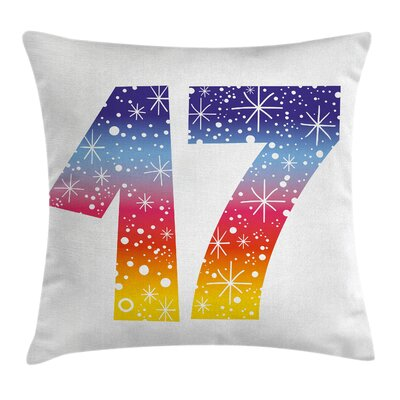 Colorful Sweet Seventeen Party Square Pillow Cover Size: 16 x 16
