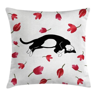 Kitten Cute Cat Sleeping Tulips Pillow Cover Size: 16 x 16