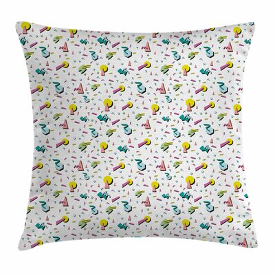 Vintage Retro Geometric Doodle Square Pillow Cover Size: 24 x 24