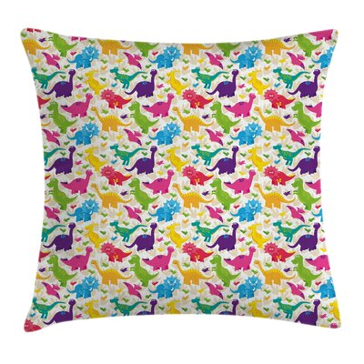 Dinosaur Cute Wild Animal Kids Pillow Cover Size: 24 x 24