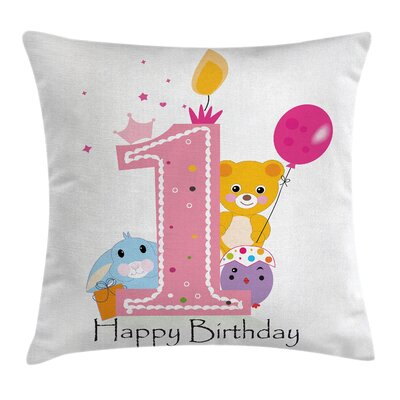 Birthday Princess Girl Party Square Pillow Cover Size: 16 x 16