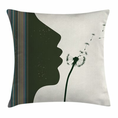 Modern Woman and Dandelion Pillow Cover Size: 18 x 18
