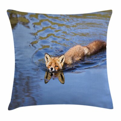 Fox Cute Fox Swimming in River Square Pillow Cover Size: 16 x 16