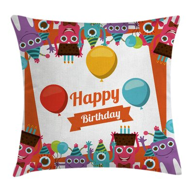 Kids Room Decor Birthday Party Square Pillow Cover Size: 16 x 16