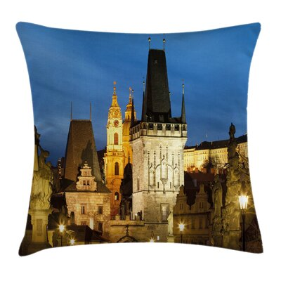 European Church Tower Prague Pillow Cover Size: 18 x 18
