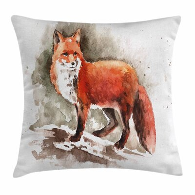 Fox Watercolor Bushy Tail Tod Square Pillow Cover Size: 20 x 20