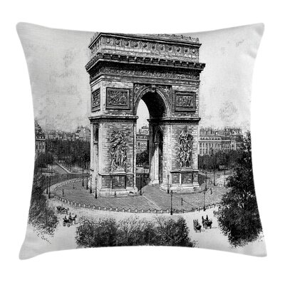 Retro Auguste Vitu Monument Pillow Cover Size: 24 x 24