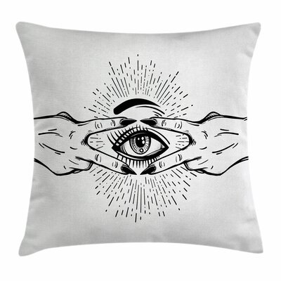 Eye Fingers Esoteric Sketch Square Pillow Cover Size: 18 x 18